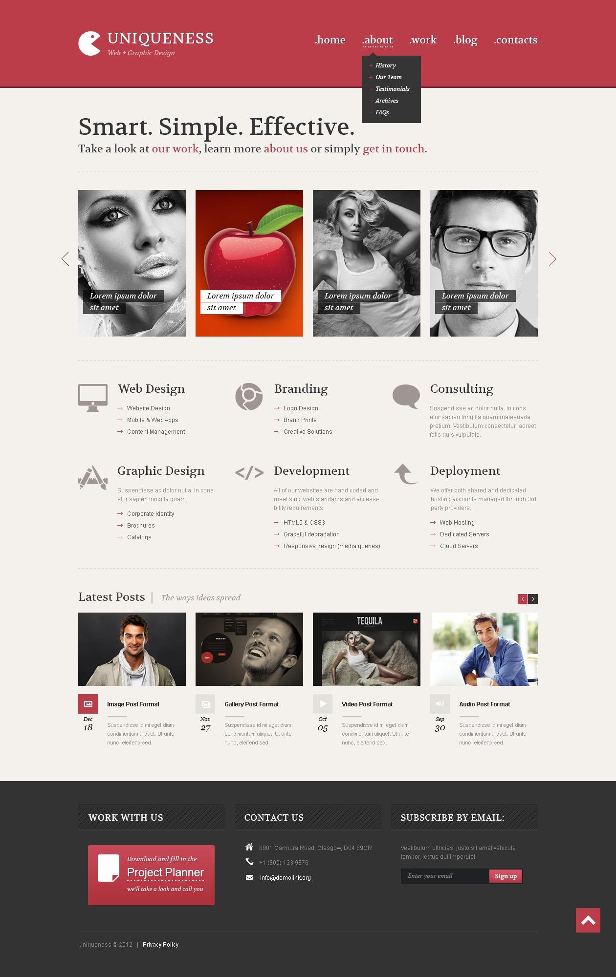 """""""Web Design Minimalism"""" - адаптивний WordPress шаблон №42113 - скріншот"""