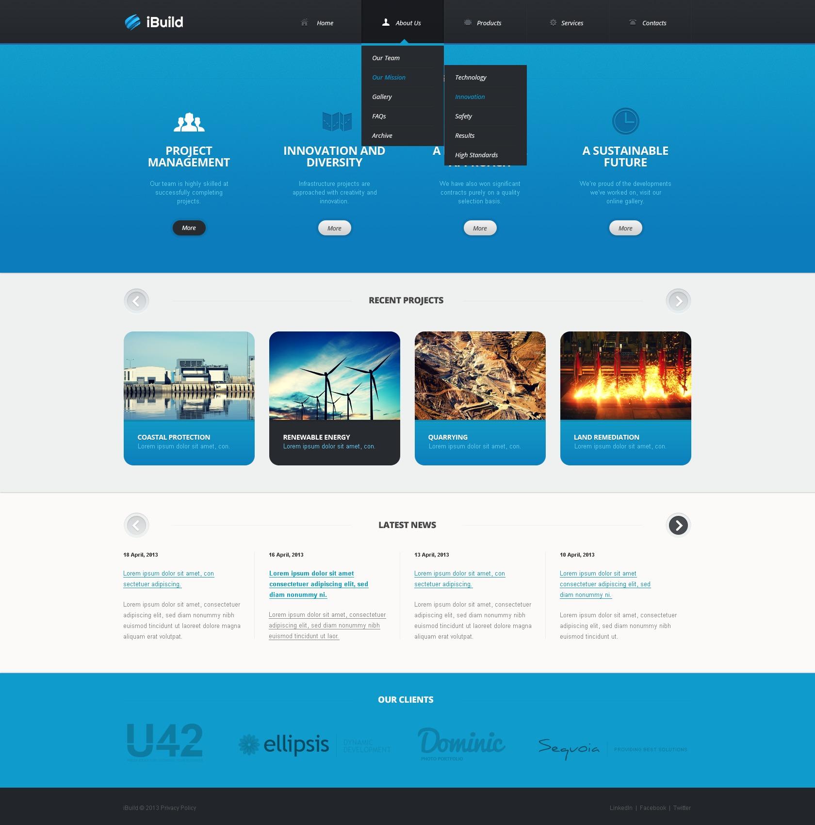 Website Vorlage für Tiefbau #42111 - Screenshot