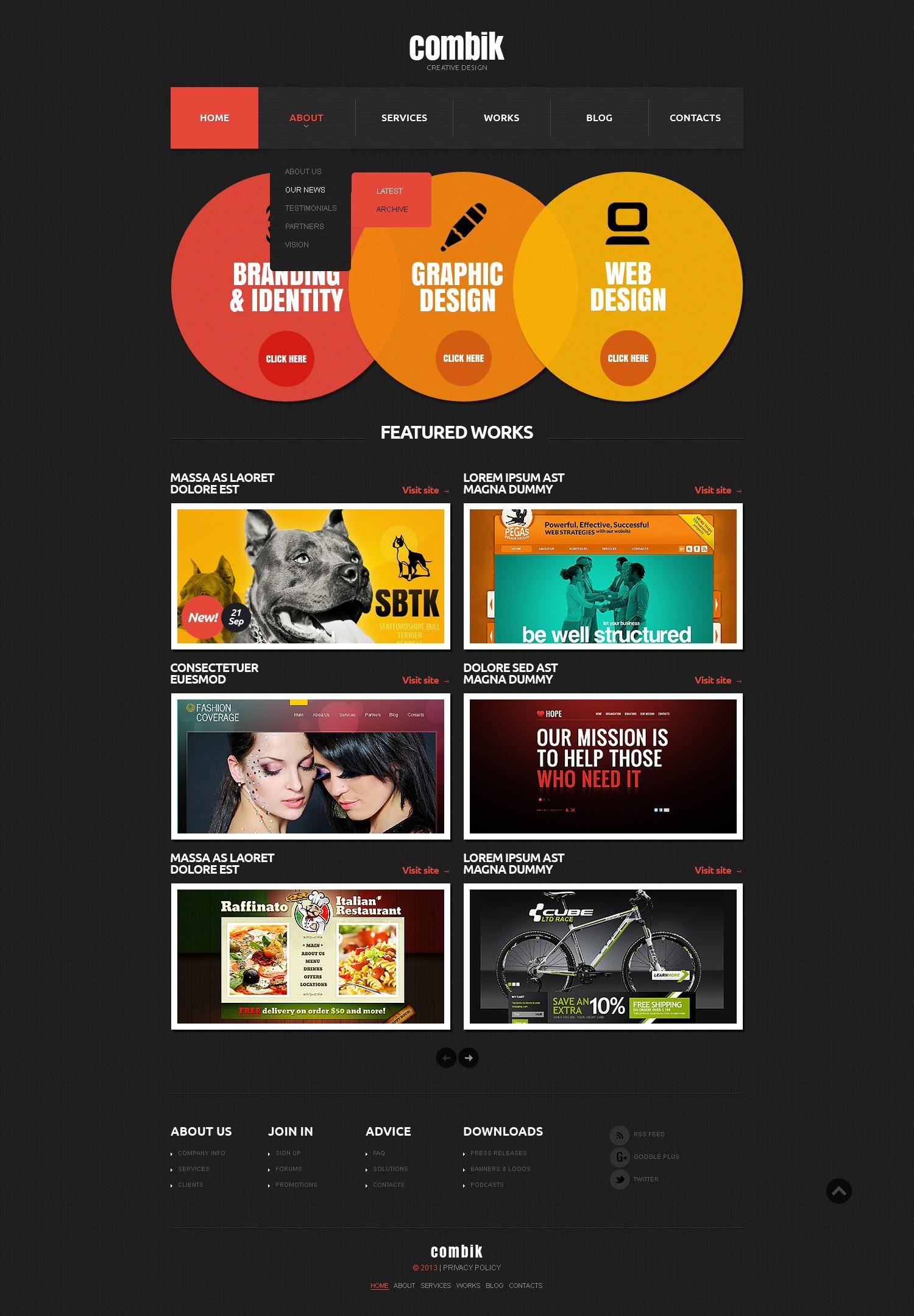 Bootstrap Шаблон сайту на тему студія дизайну №42246