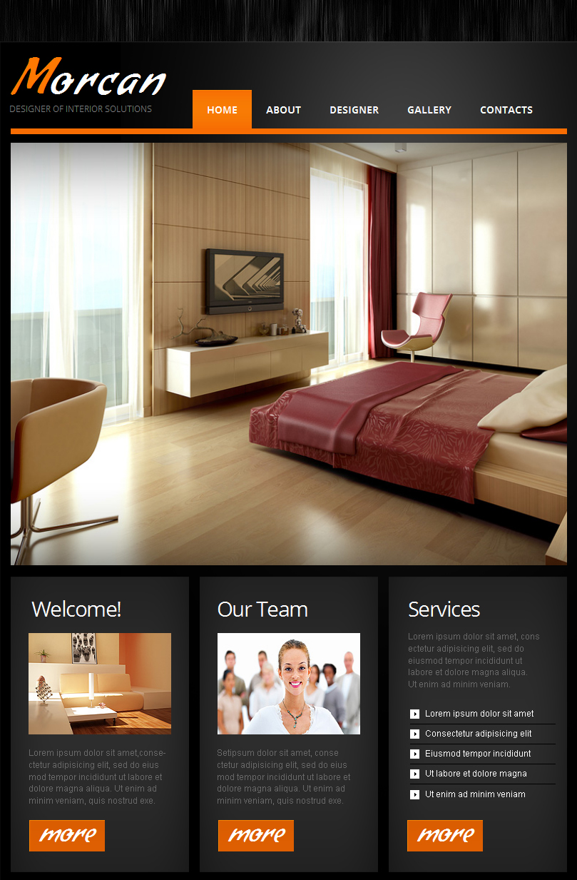 interior design facebook html cms template 42269. Black Bedroom Furniture Sets. Home Design Ideas