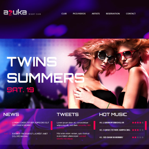 Azuka Night Club - Facebook HTML CMS Template