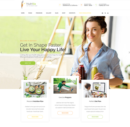 healthy nutrition and dietology WordPress Theme
