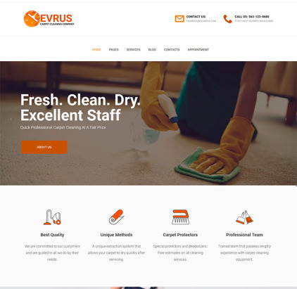Carpet Cleaning and Desinfection WordPress Theme