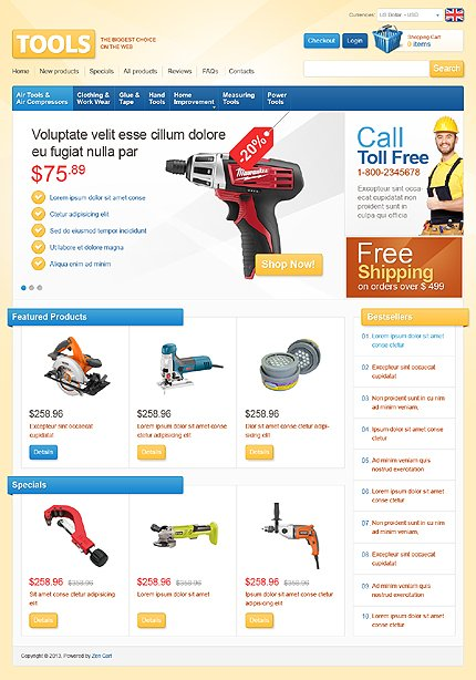 ZenCart Template 42367 Main Page Screenshot
