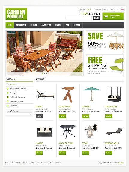 ZenCart Template 42368 Main Page Screenshot