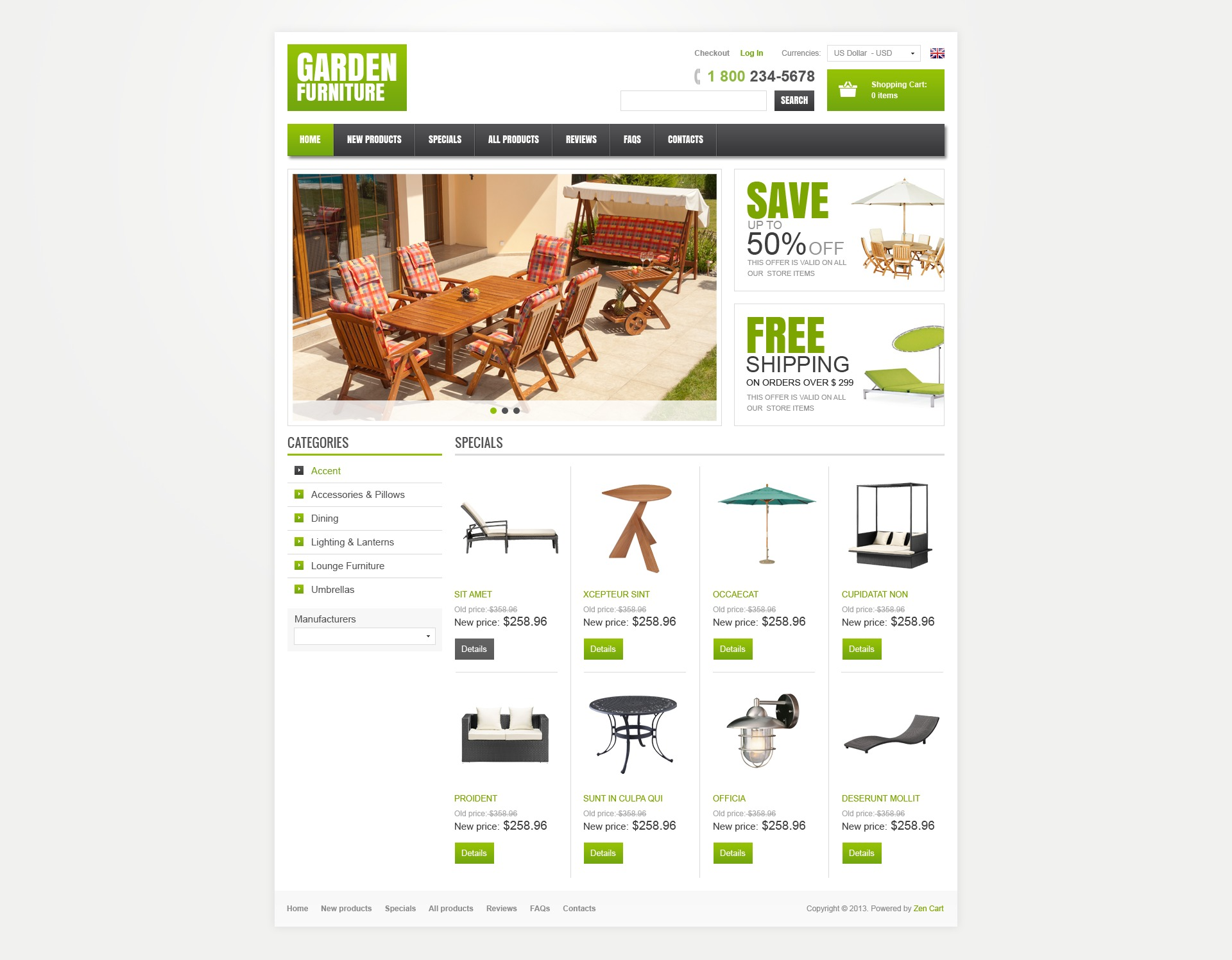Garden Furniture ZenCart Template