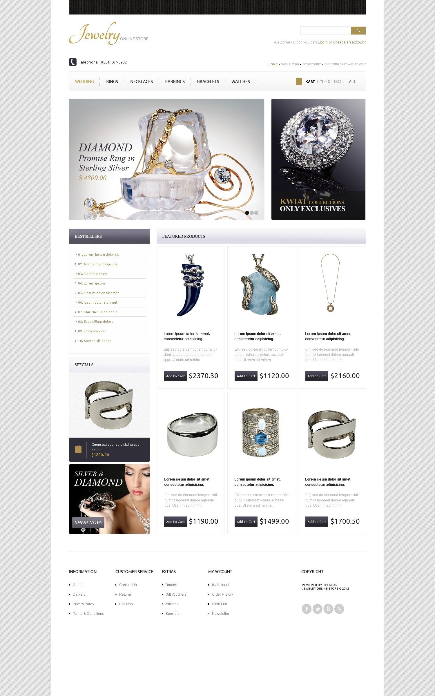 gold diamonds opencart template 42363