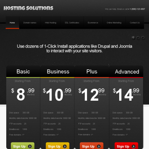 Hosting Solutions - Facebook HTML CMS Template