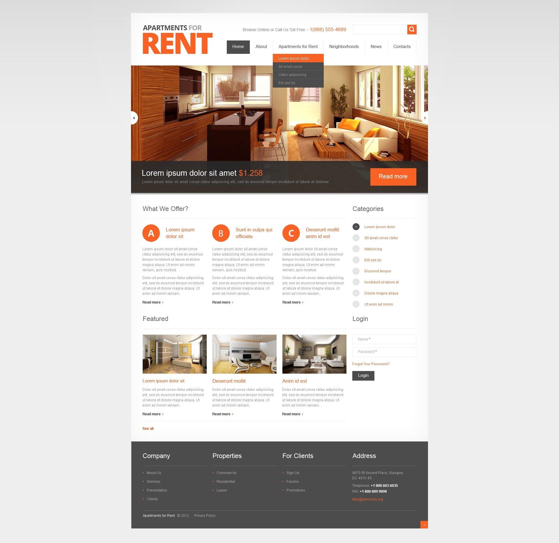 Websites For Homes For Rent: Light Real Estate Drupal Template #42316