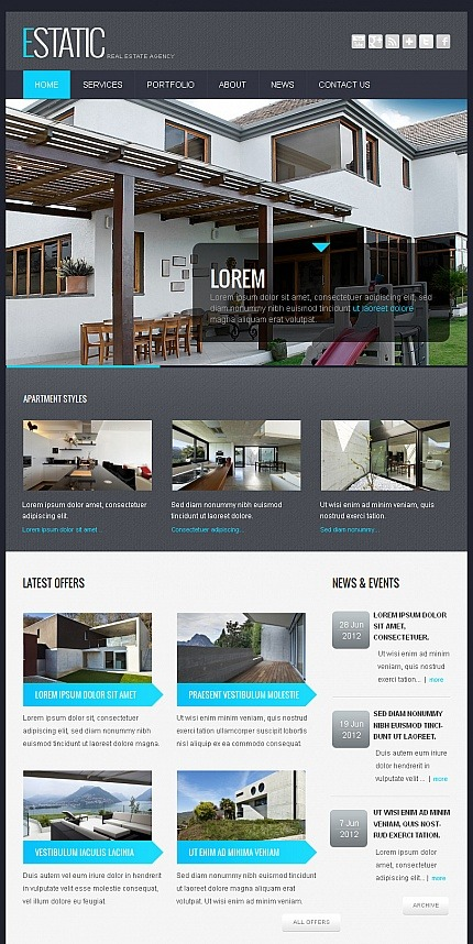 Real Estate Agency Facebook HTML CMS Template Facebook Screenshot