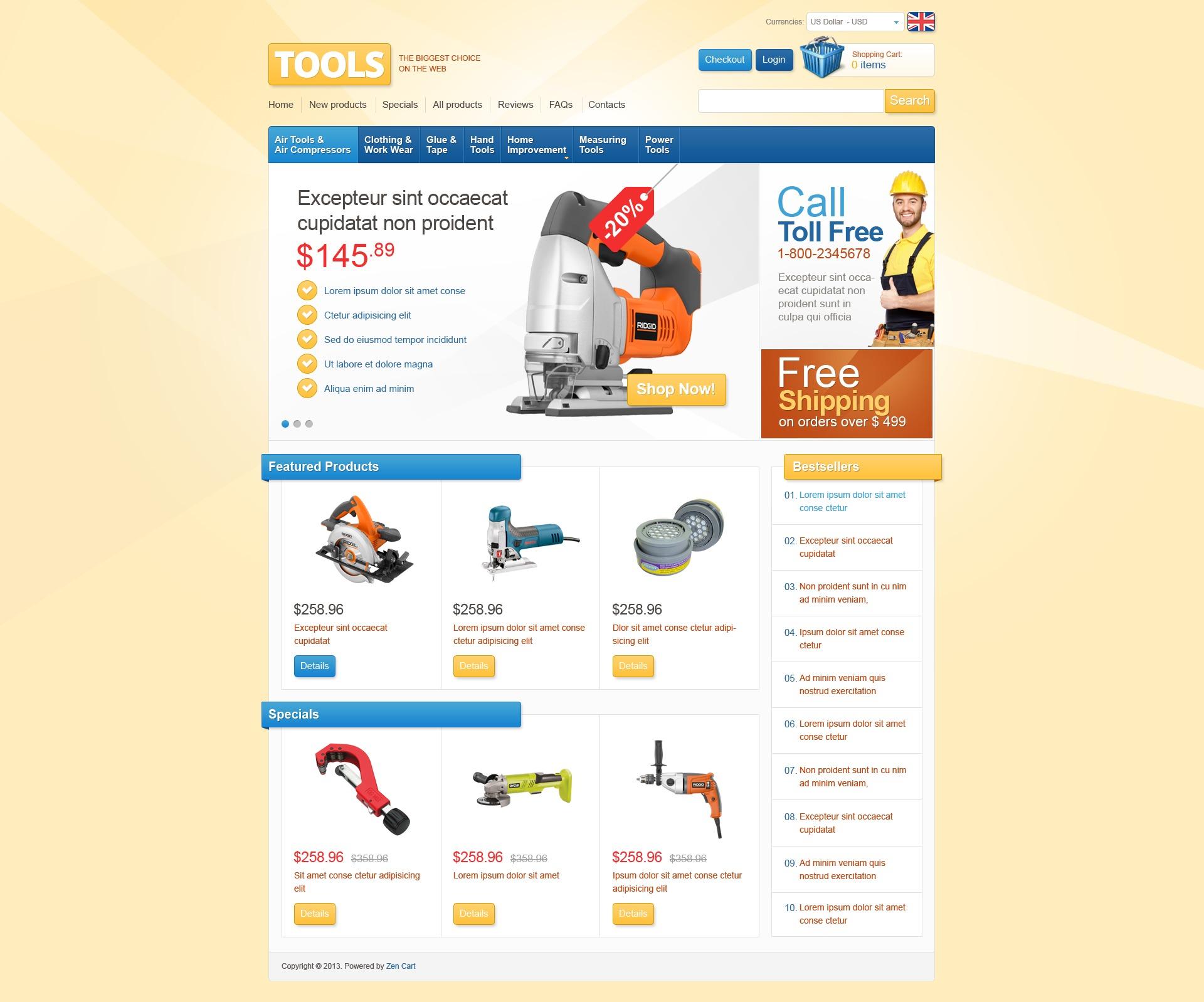 """Tools Store"" ZenCart模板 #42367"