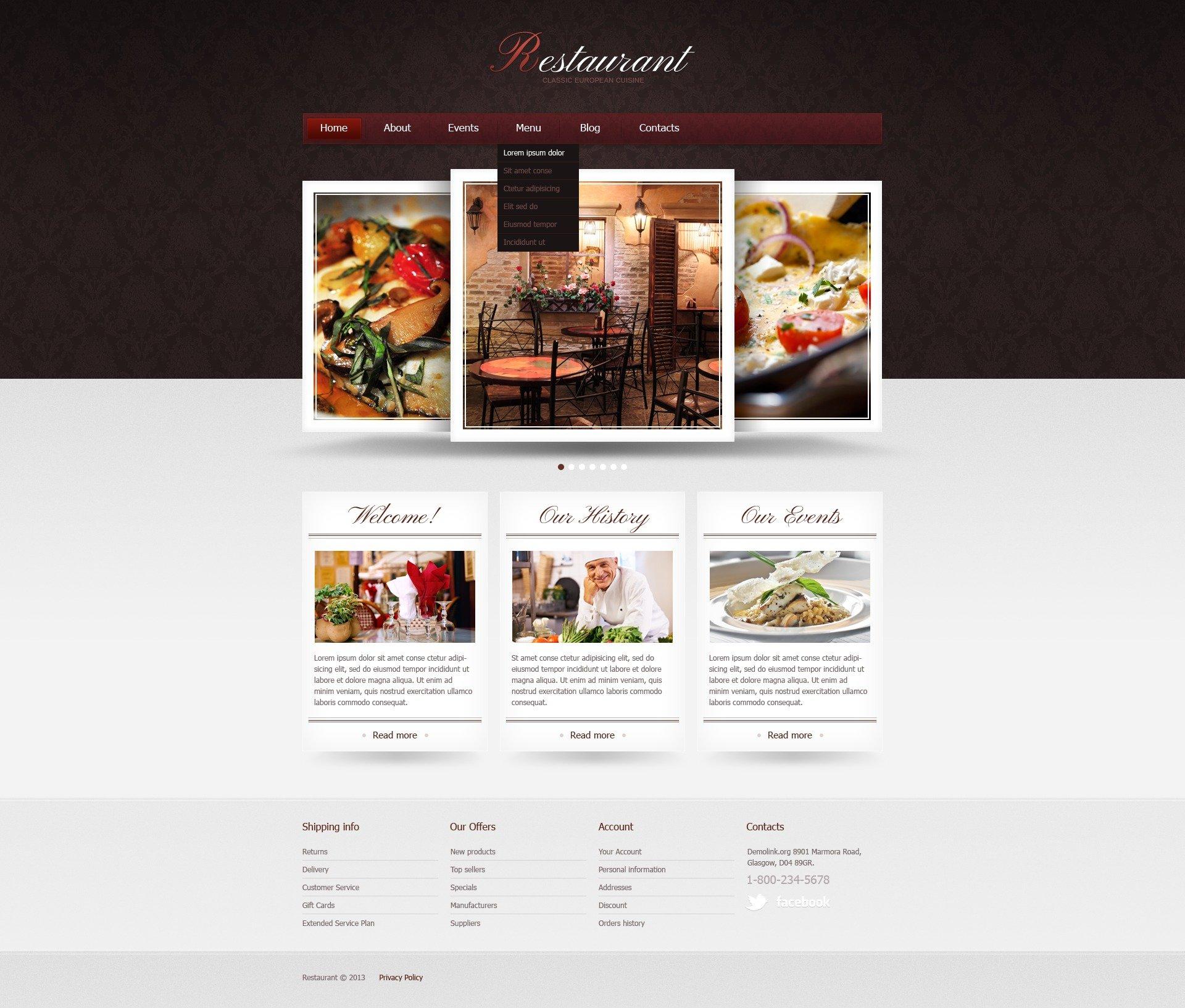 joomla template over europees restaurant �42425