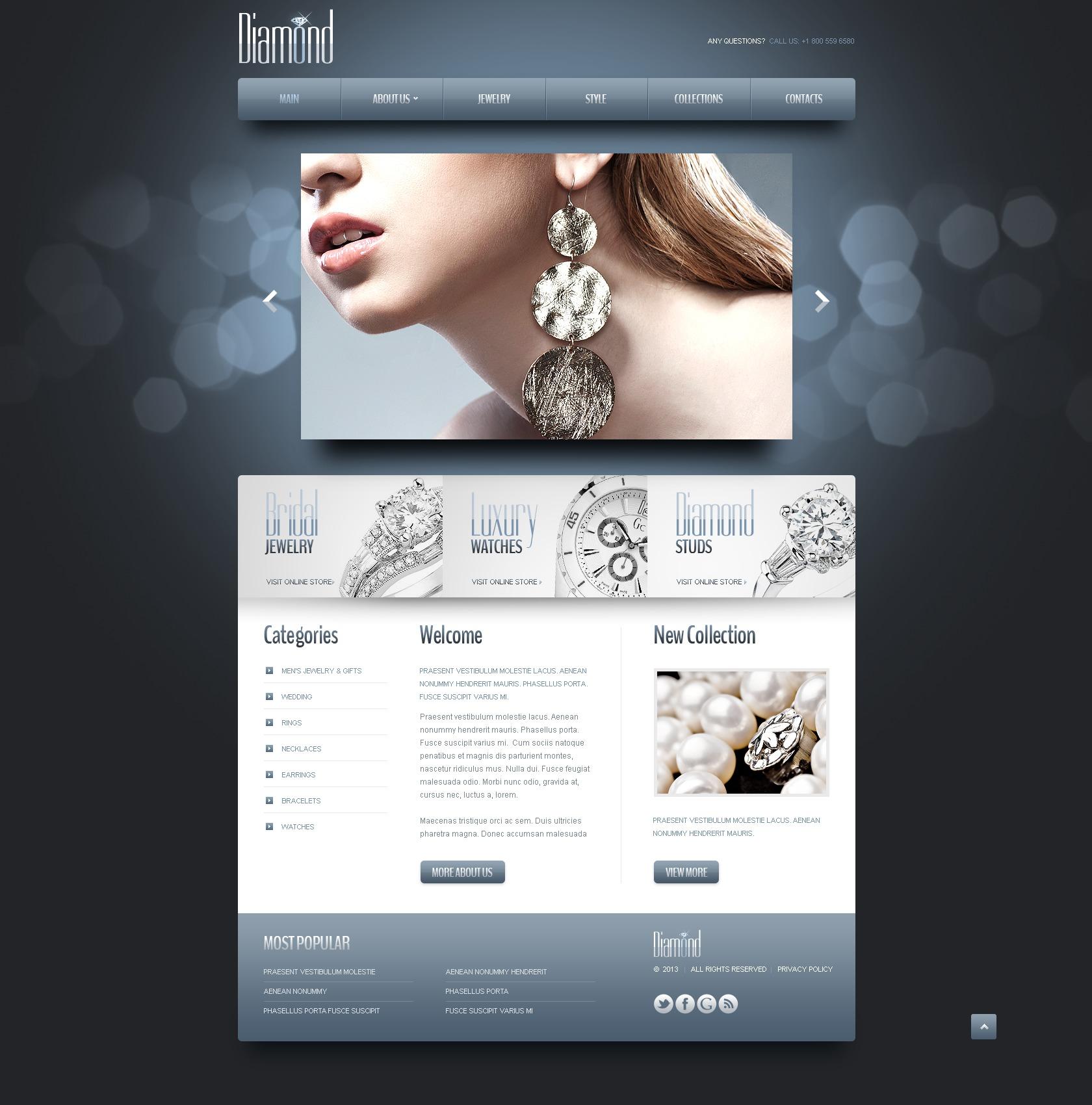 Template siti web per un sito di gioielli for Siti web di costruzione domestica