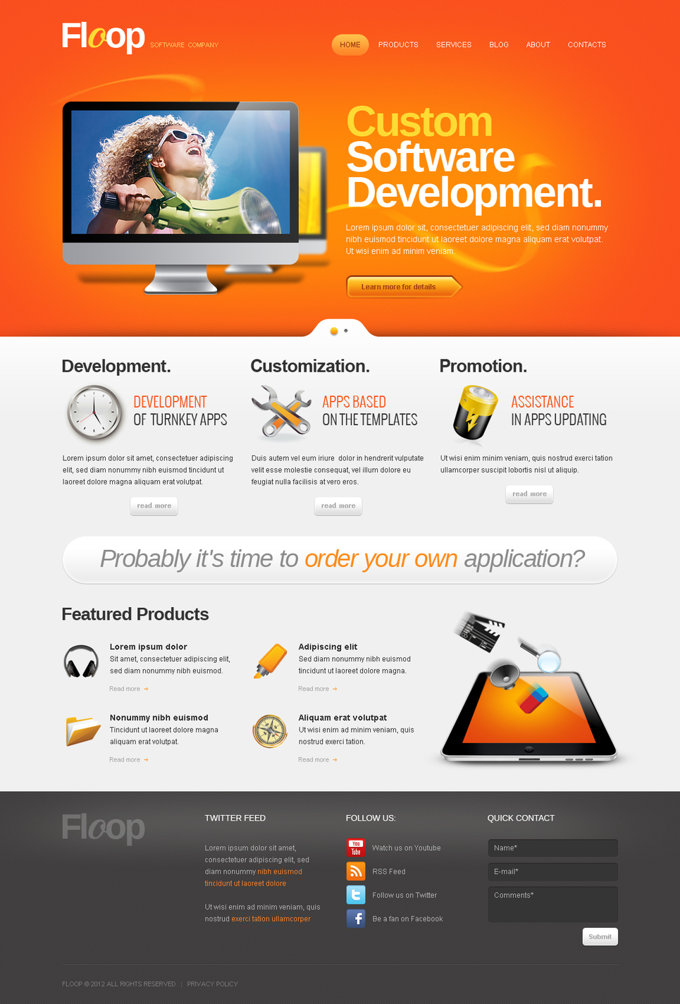 Software Company Website Template with Bright Orange Header - image