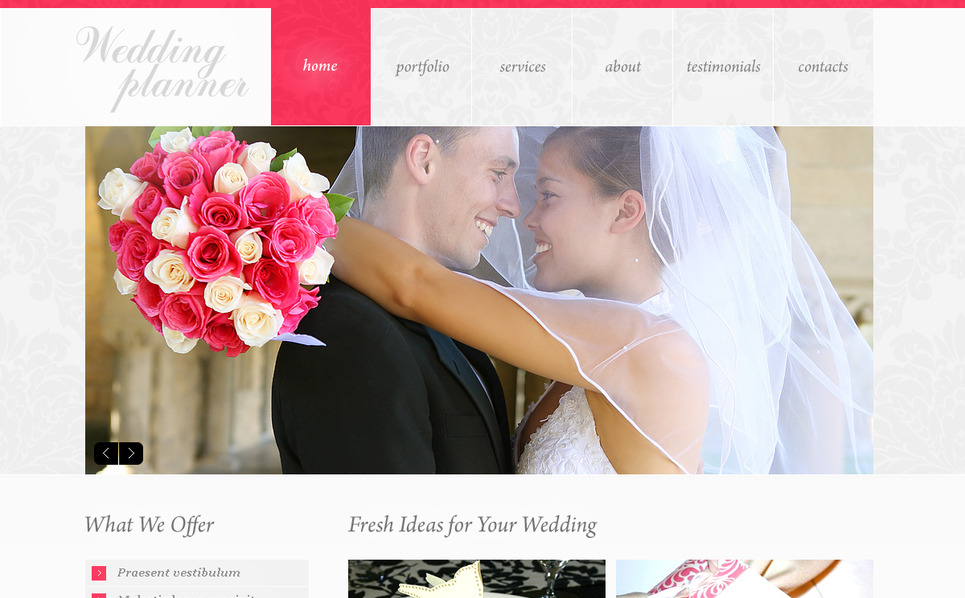Modello Moto CMS HTML  #42452 per Un Sito di Wedding Planner New Screenshots BIG