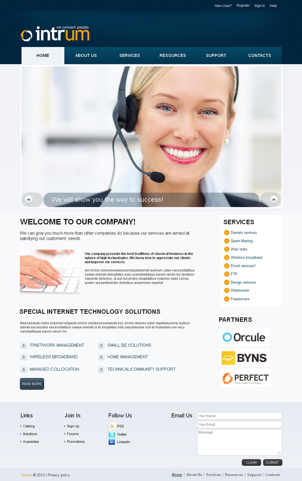 Communications Website Template with Dark Blue Header - image