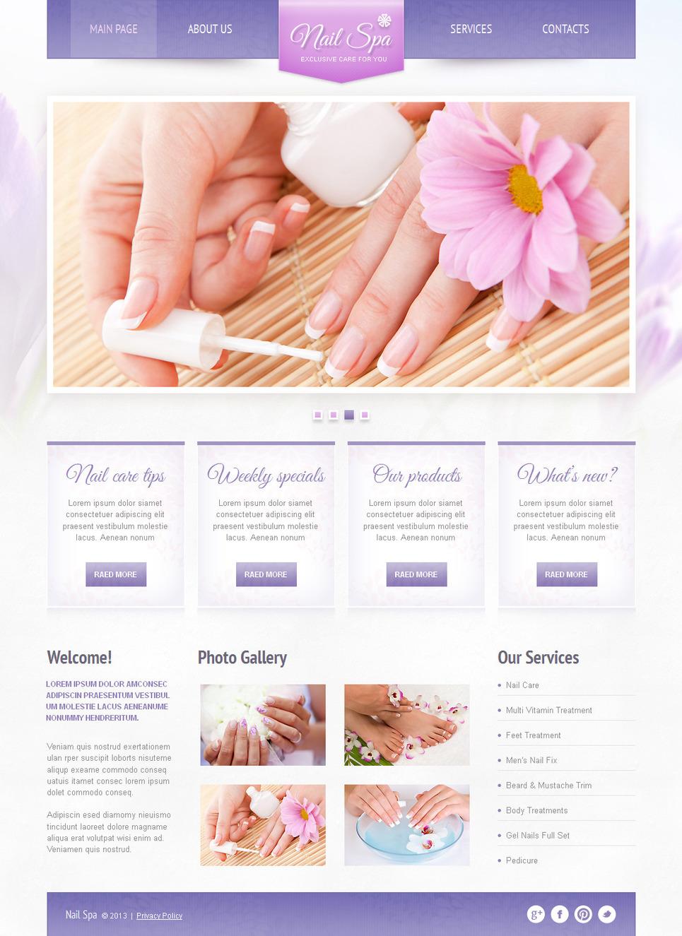 Nail Spa Website Template Designed in Light Violet Tones - image