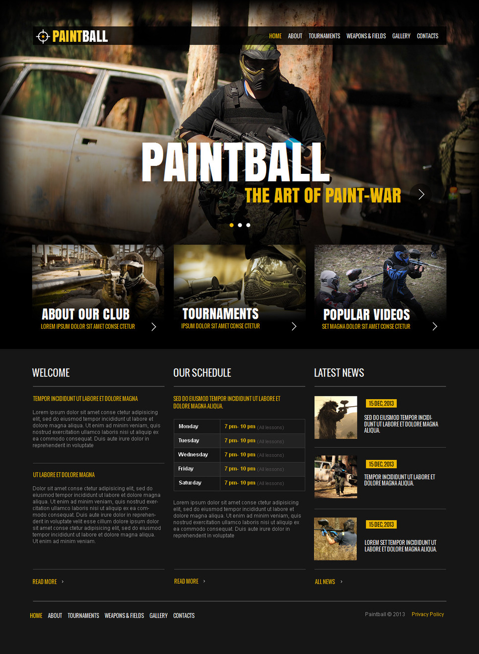 Dark Paintball Website Template - image
