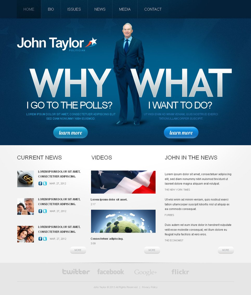 Political Candidate Web Template with Photographic Header - image