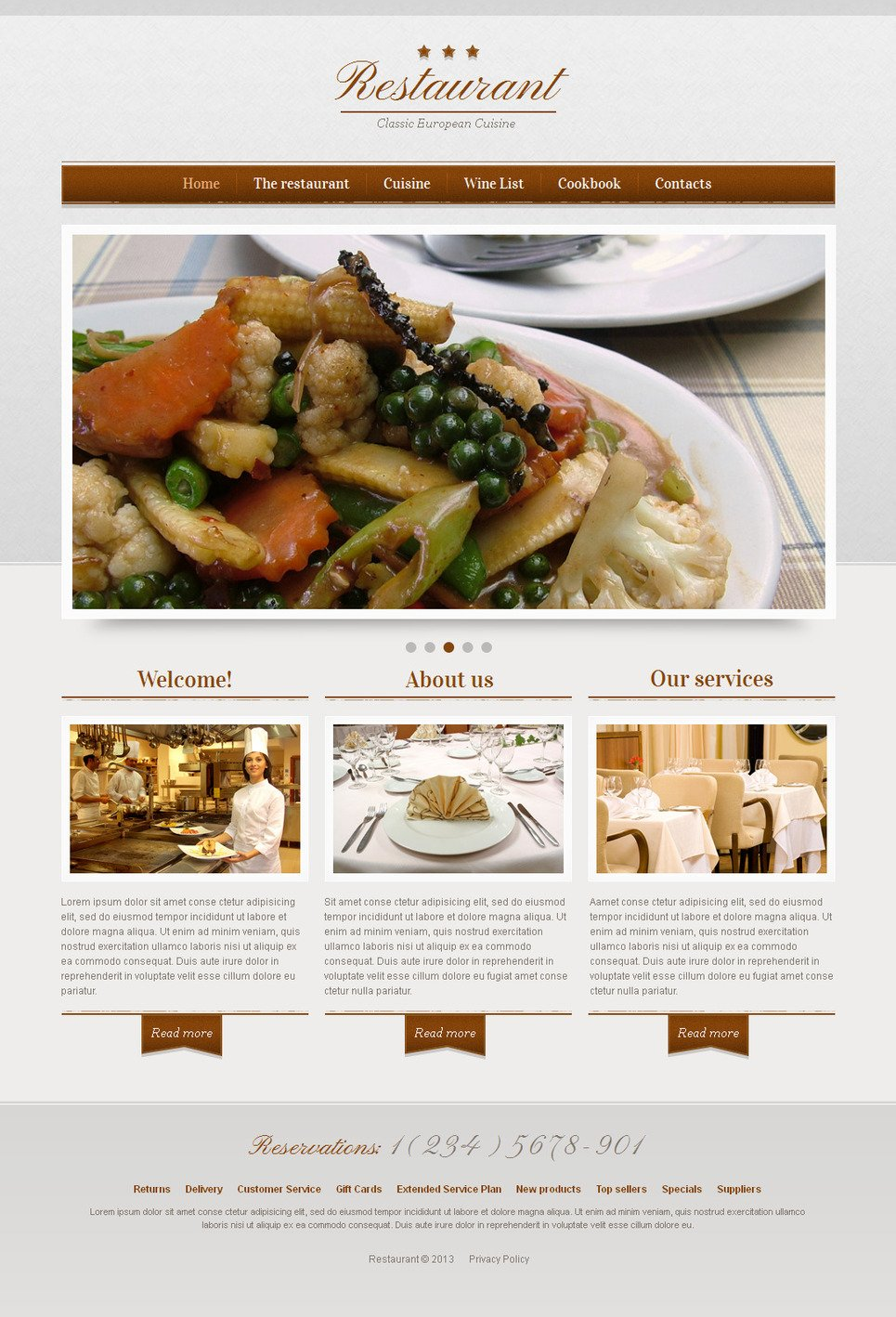 Classic Restaurant Website Template with a Photo Slider - image