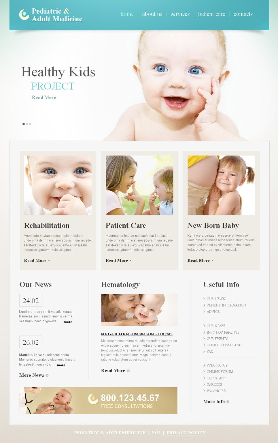 Pediatrician Website Template with a jQuery Slider - image