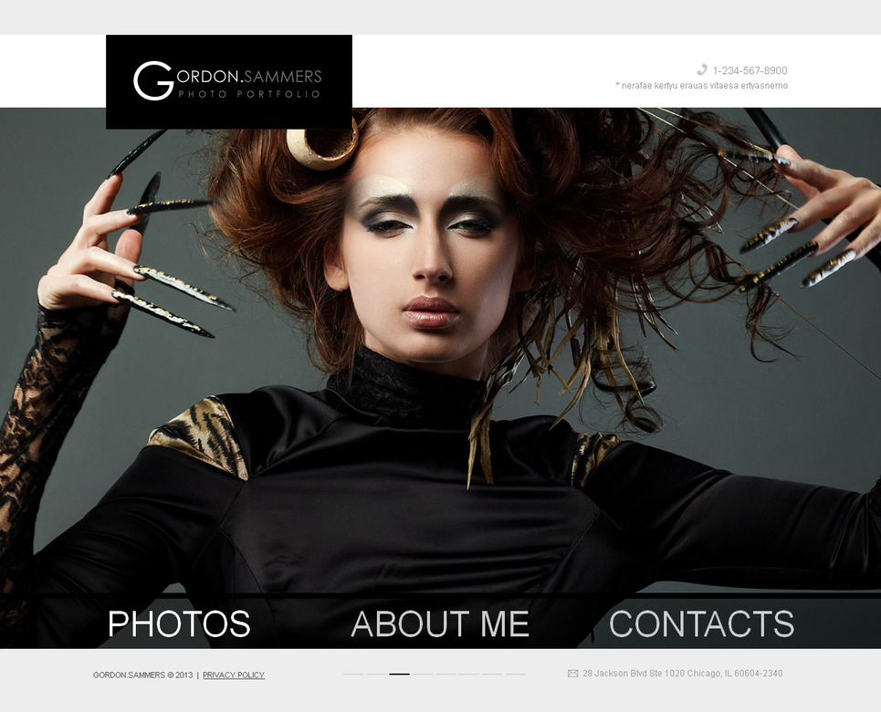 Photography Website Template with Bottom Menu Bar - image