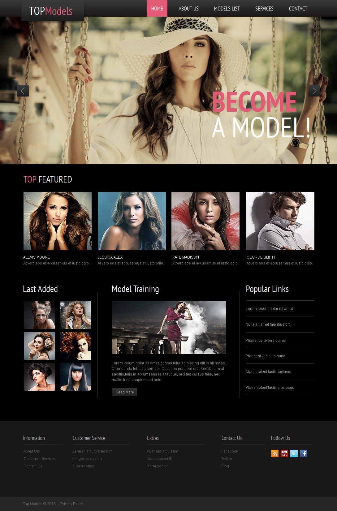 Model Agency Moto CMS HTML Template - screenshot
