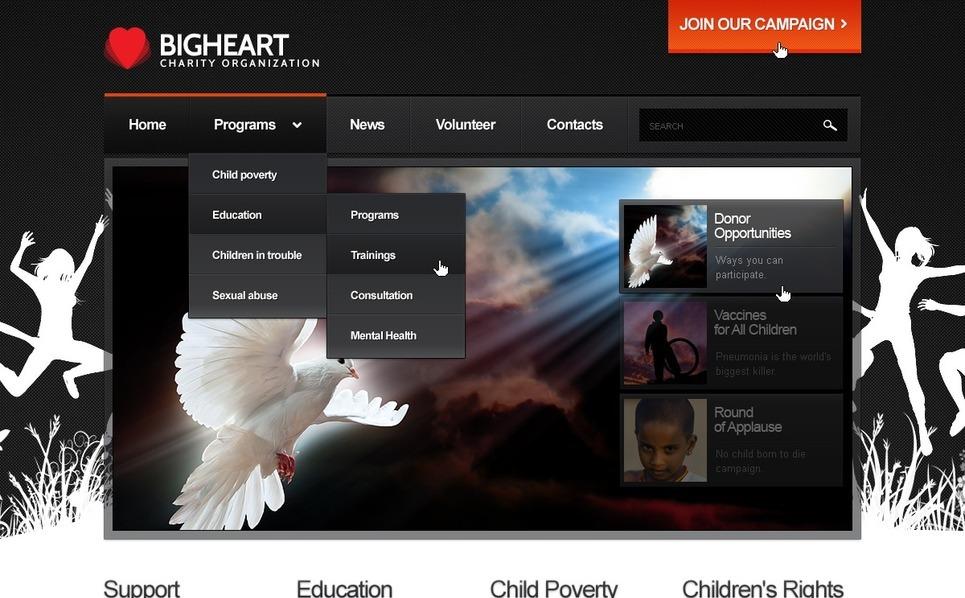 Flash CMS Vorlage für Wohltätigkeit  New Screenshots BIG