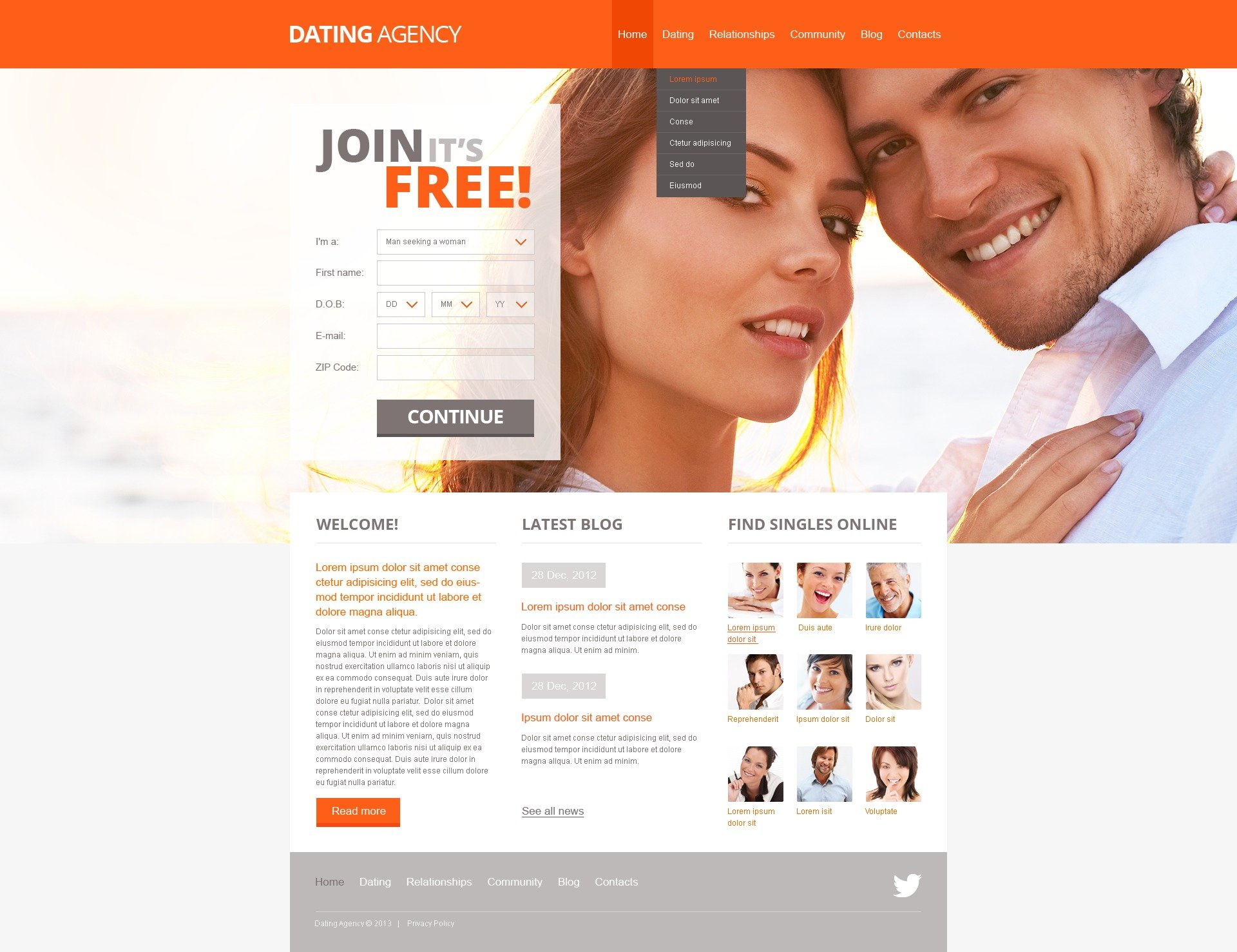 Dating website html templates