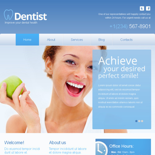 Dentist - Facebook HTML CMS Template
