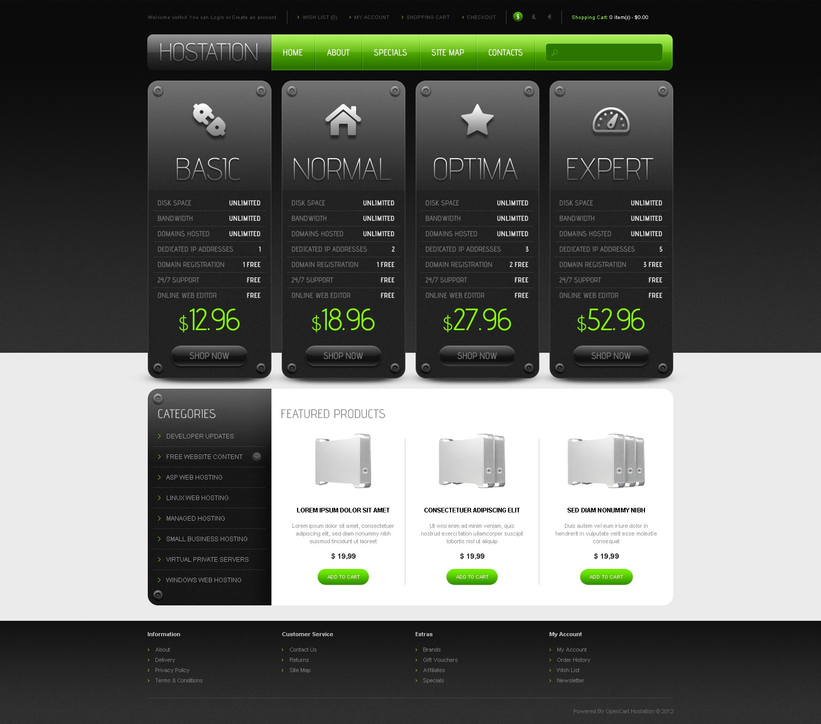Hosting OpenCart Template #42551