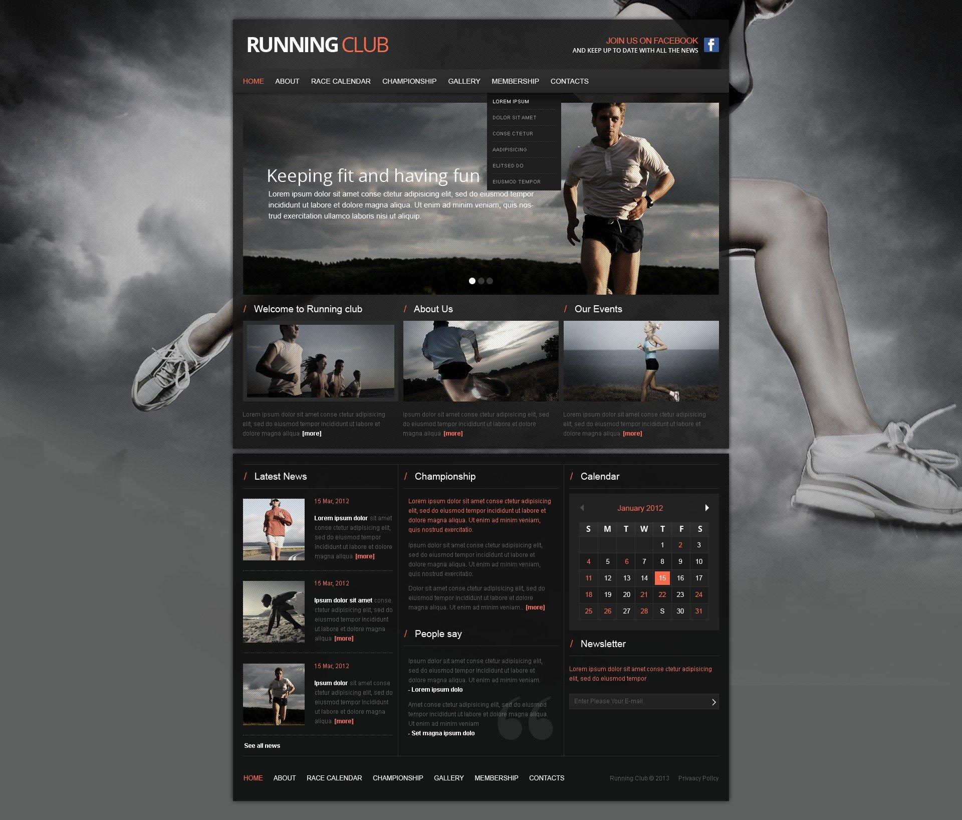 Шаблон сайту на тему біг №42520