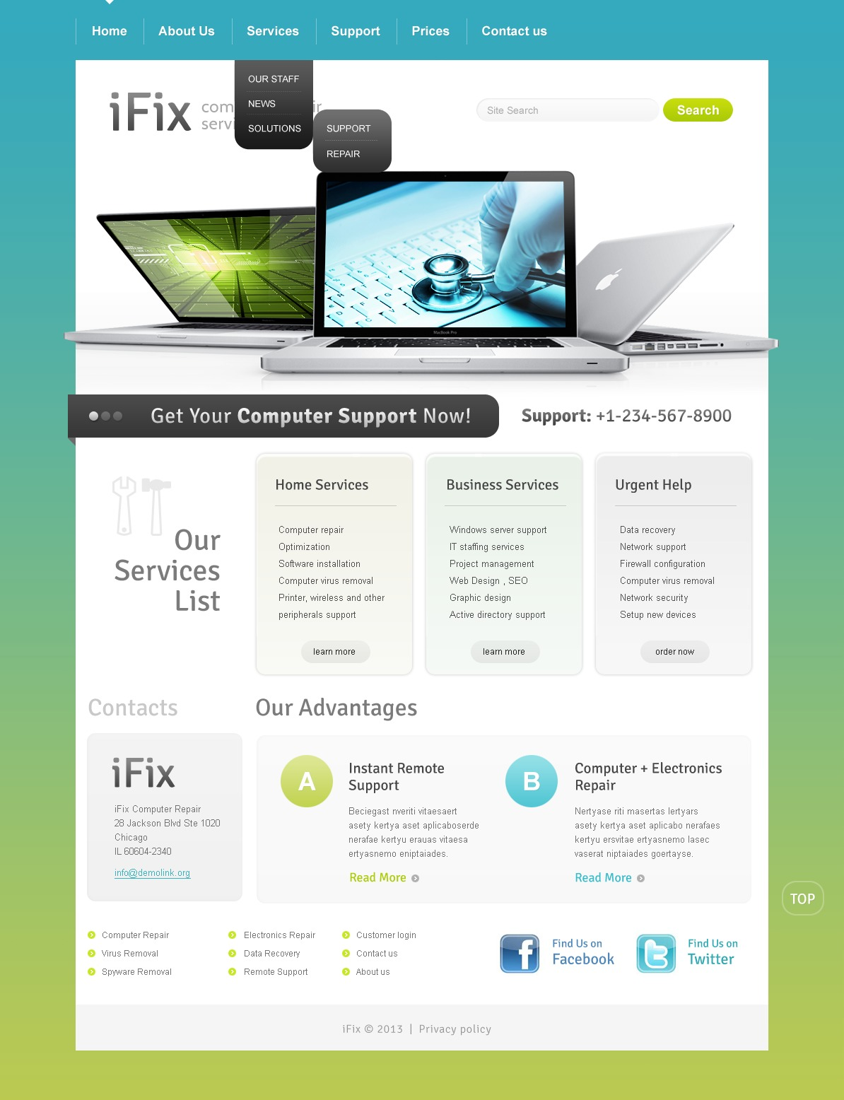 Computer Repair Website Template  Price List Design Template
