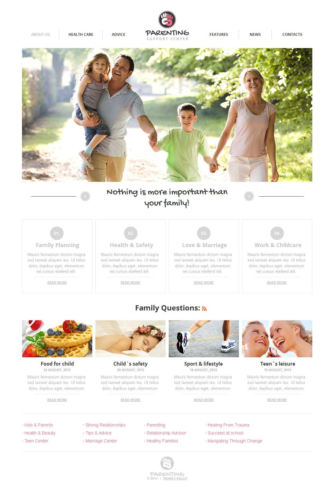 Modèle Moto CMS HTML Premium pour site de Centre familial #42699