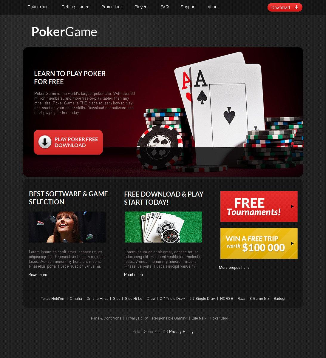 Online Poker Moto CMS HTML Template