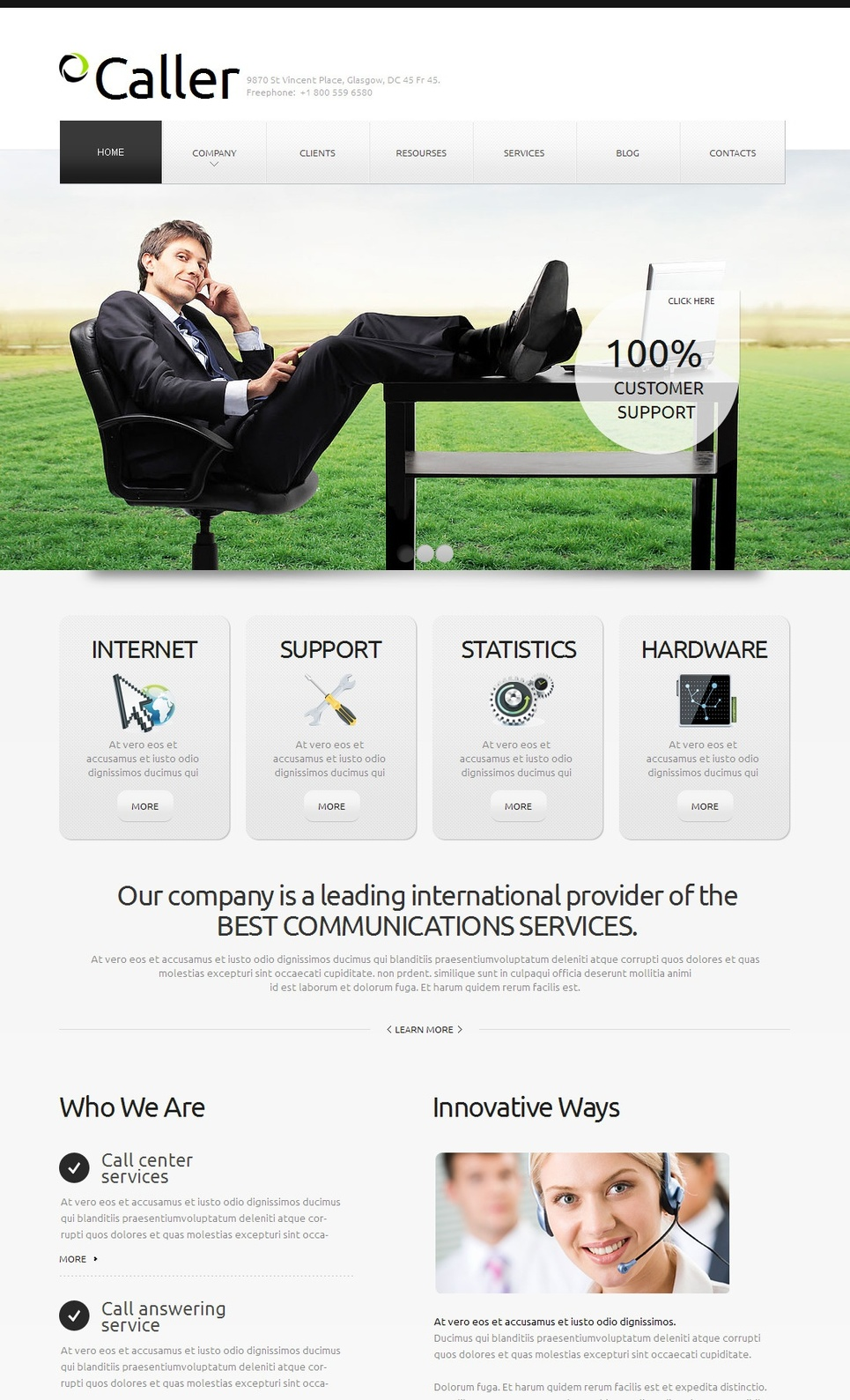 Communications Web Template with Gray Design - image