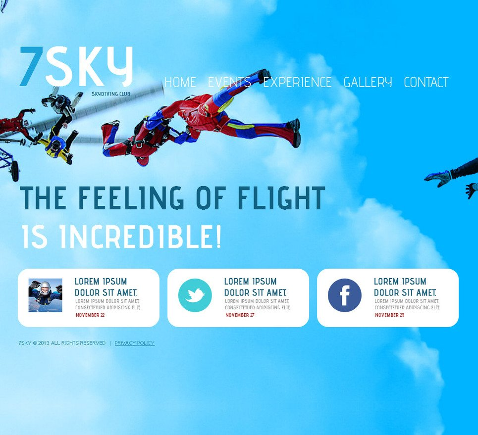 Skydiving Website Template with a Full-Screen Background Slideshow - image
