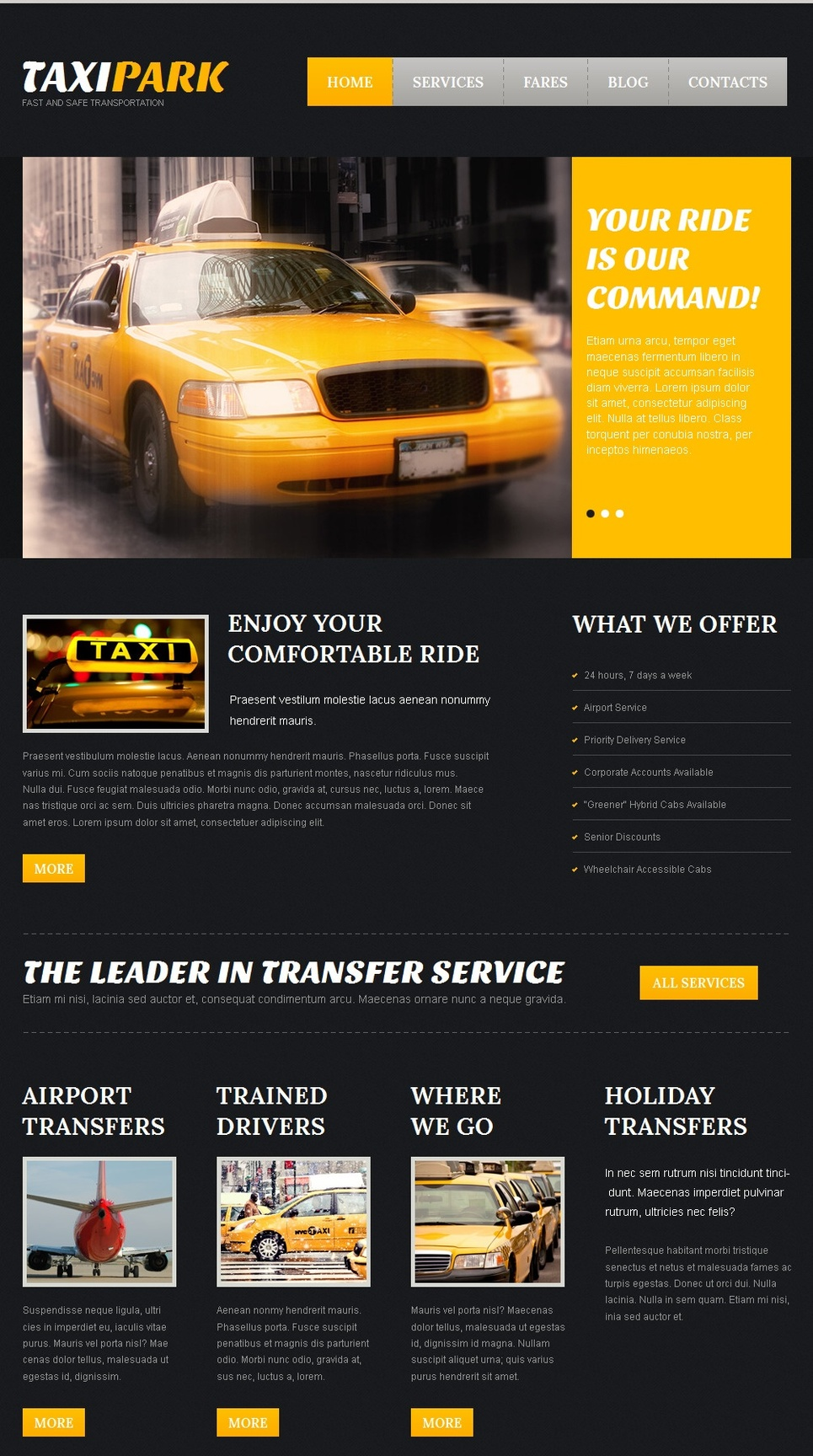 Black Website Template for Taxi Services - image