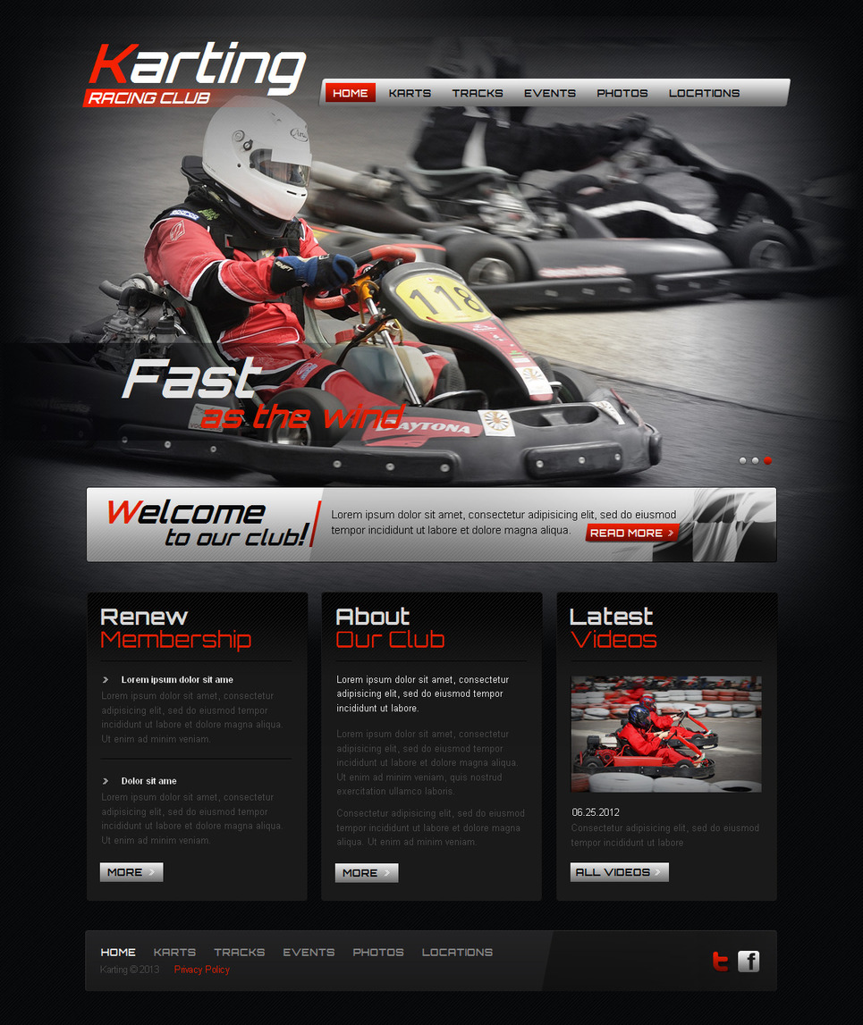 Kart Racing Club Template with an Image Slider - image