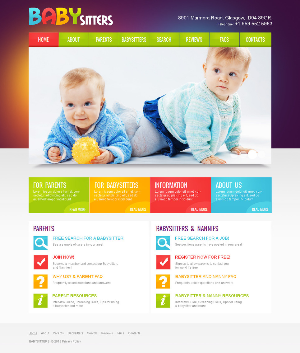 Babysitting Web Template in Bright Colors - image