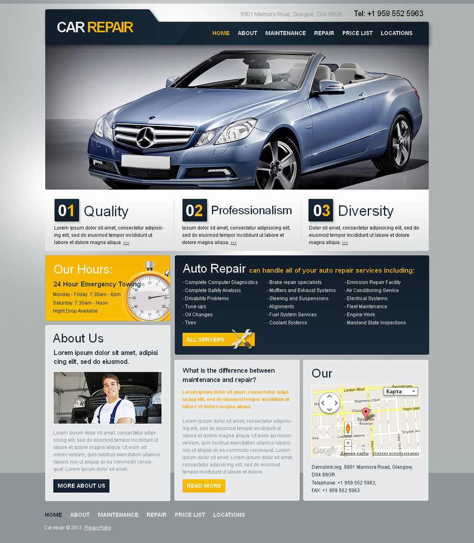 Car Repair Service Web Template with Gray Dominate Color - image