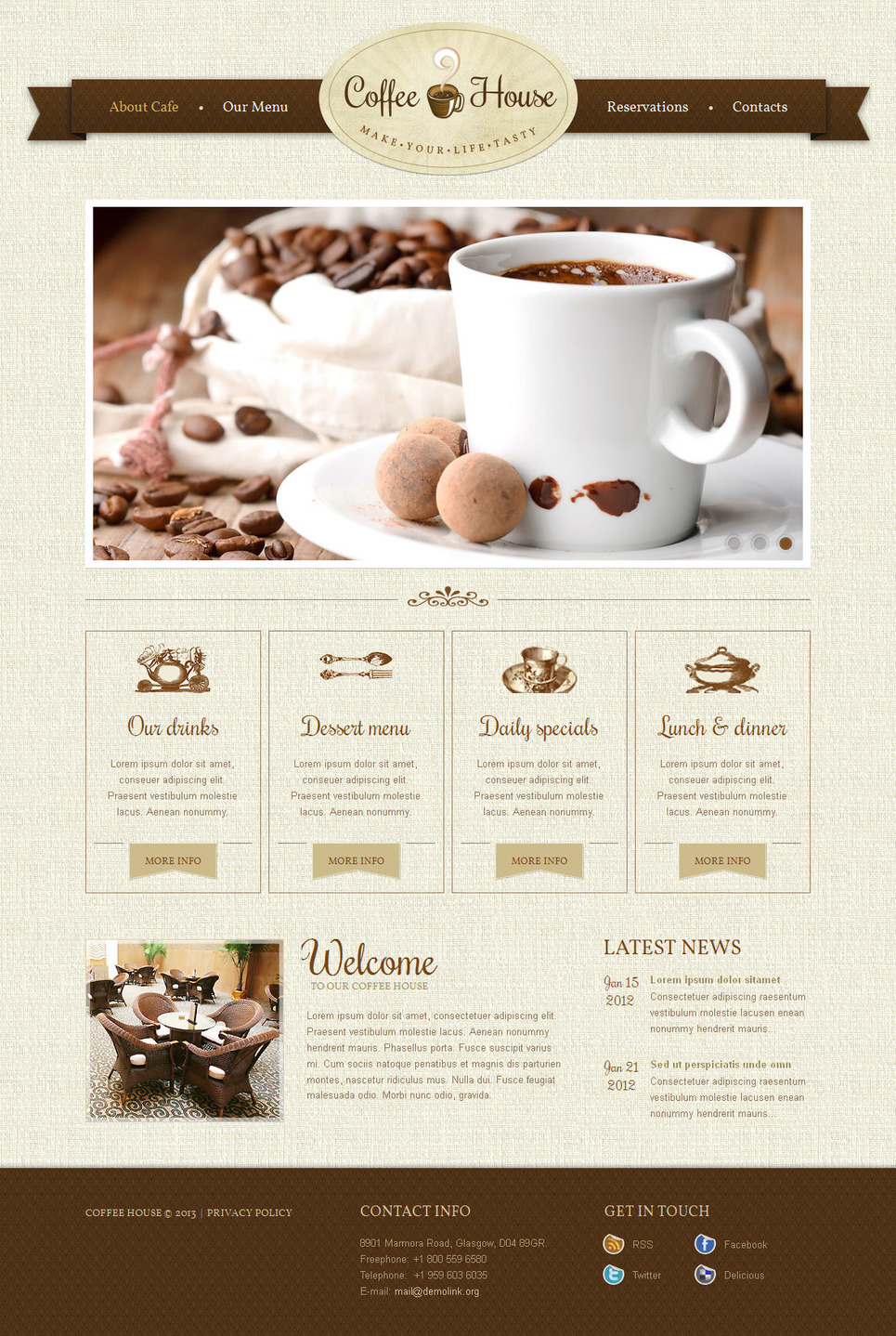 Coffee Shop Moto CMS HTML Template New Screenshots BIG