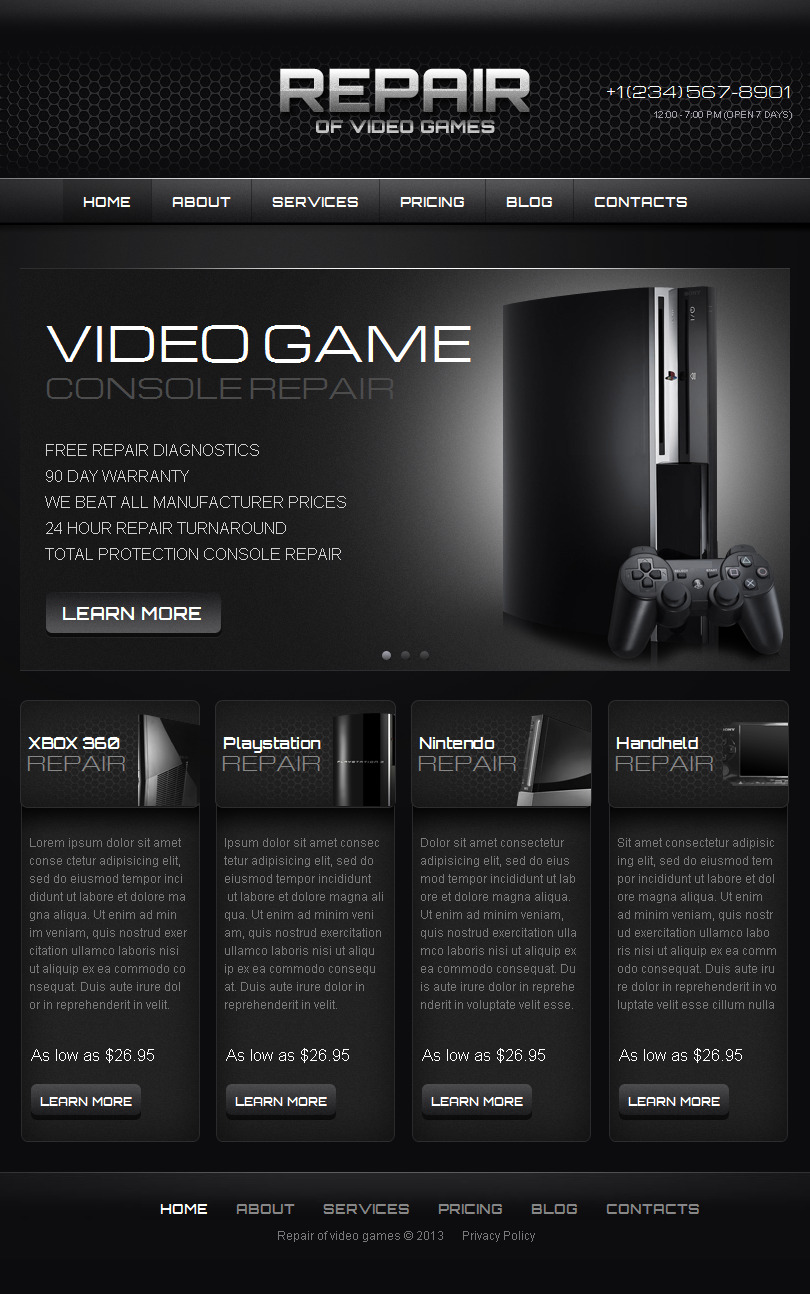 Games Facebook HTML CMS Template #42750