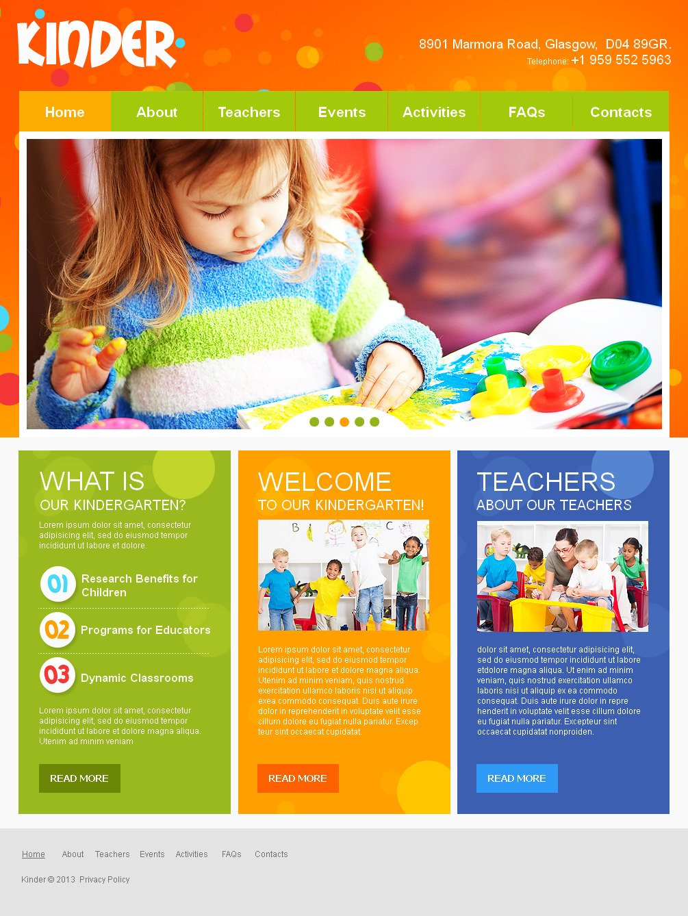 kids center moto cms html template  42718