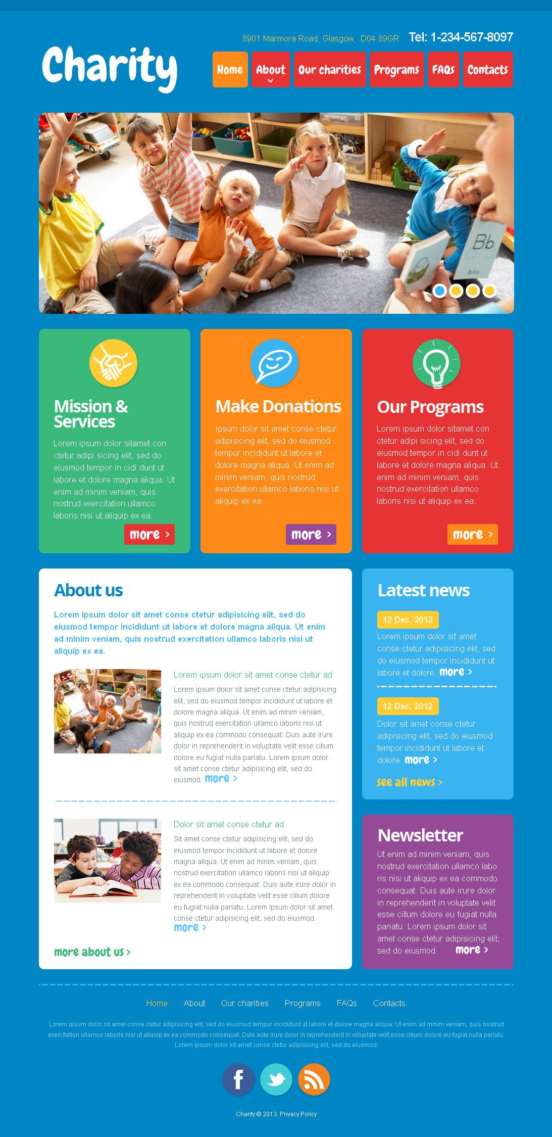 Modèle Moto CMS HTML Premium pour site d'association caritative #42705