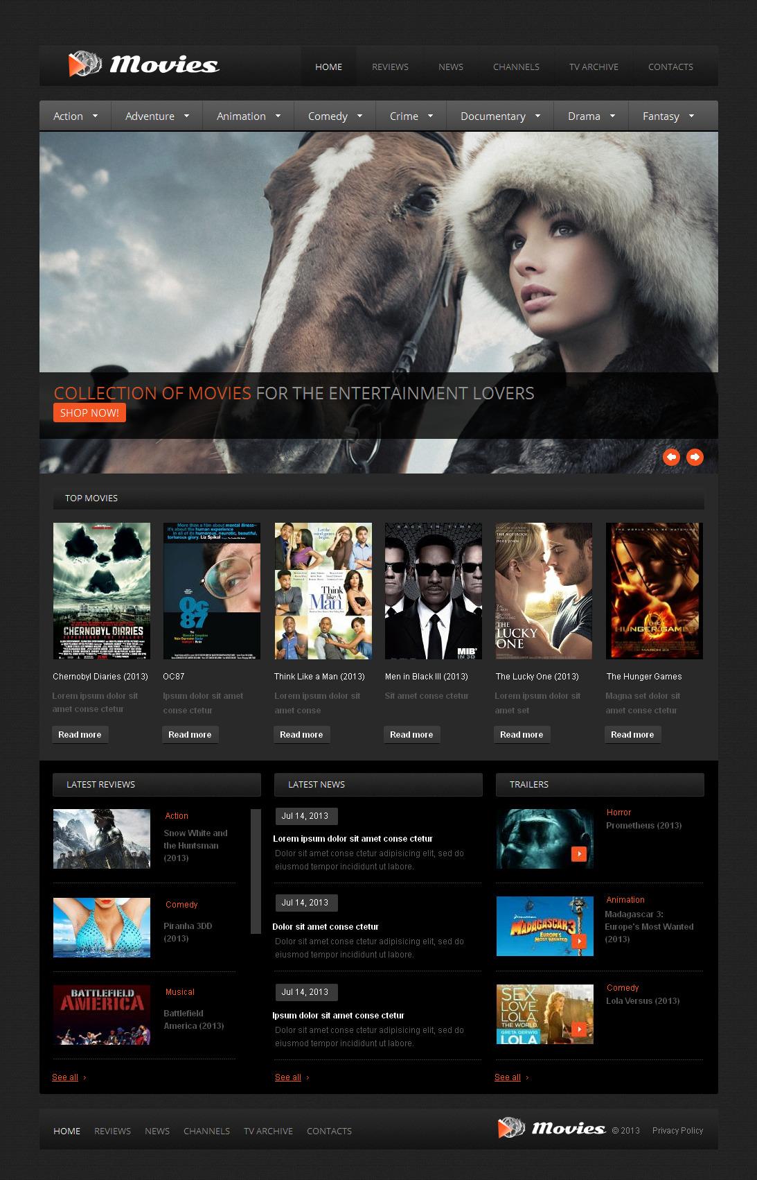 Plantilla Moto CMS HTML #42707 para Sitio de Cine - captura de pantalla