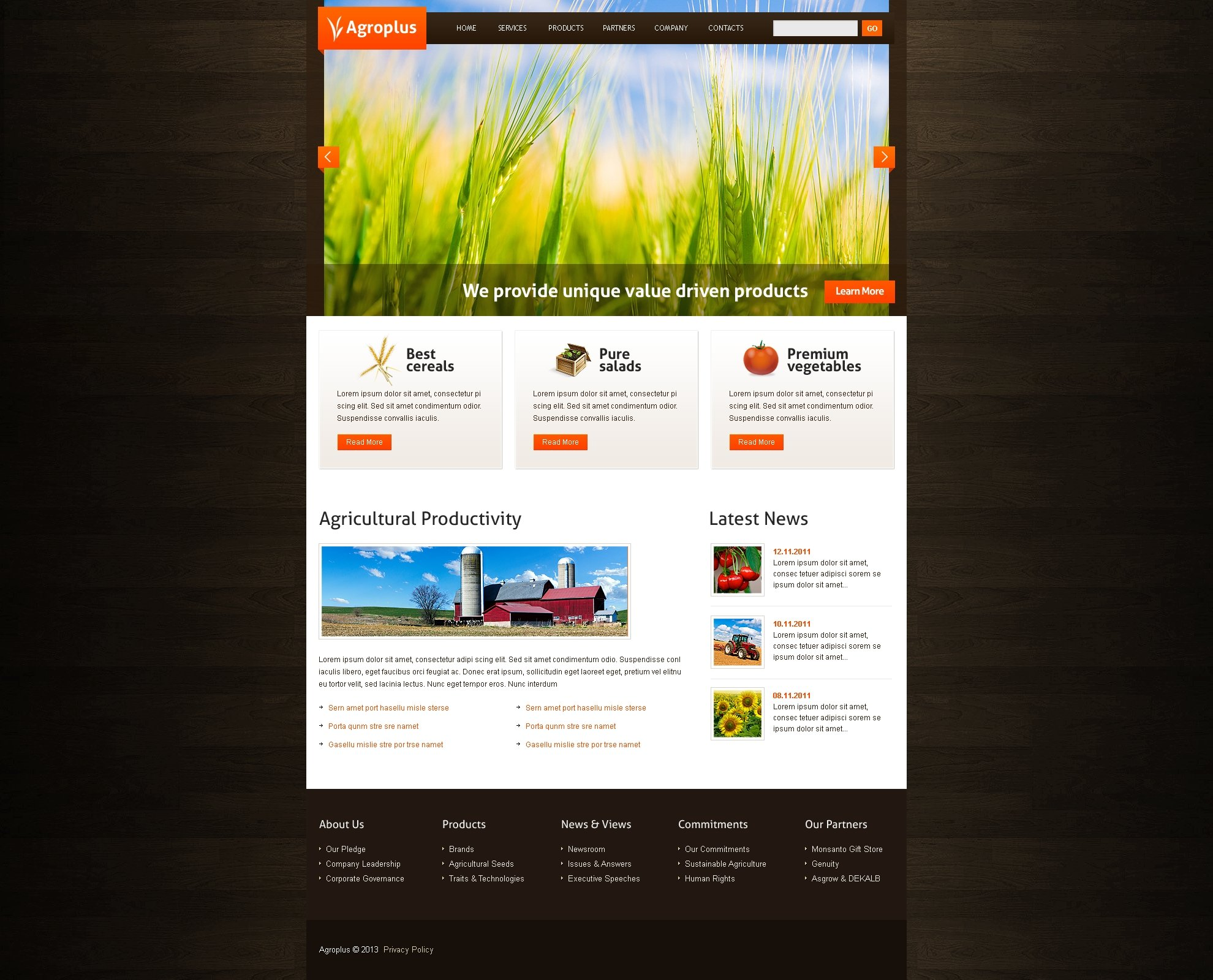 PSD шаблон на тему agriculture templates №42773