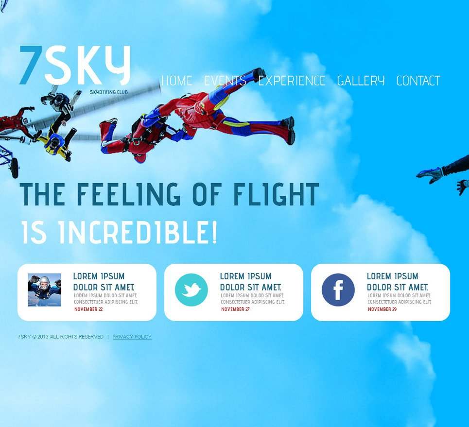 Skydiving Moto CMS HTML Template New Screenshots BIG