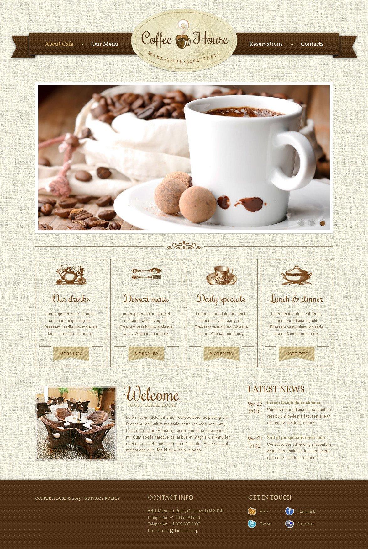 Szablon Moto CMS HTML #42727 na temat: sklep z kawą - zrzut ekranu
