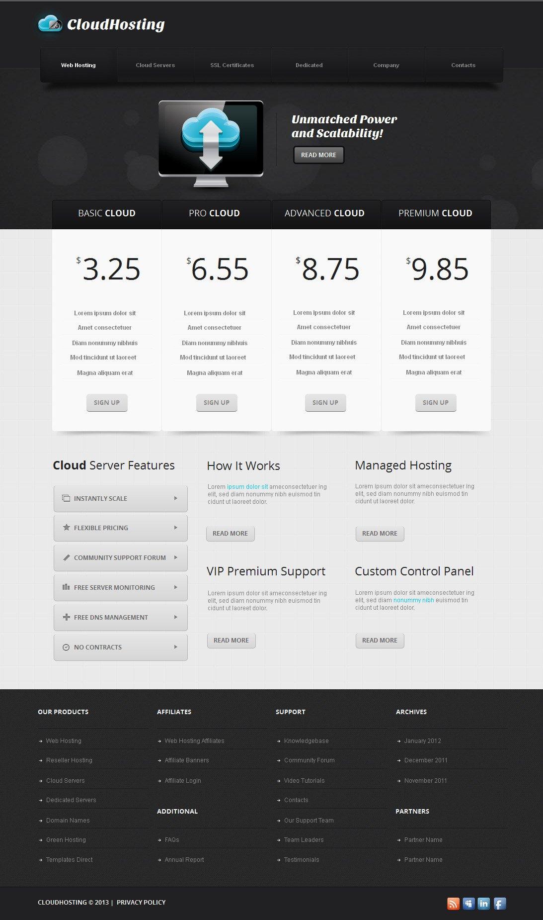 Template Moto CMS HTML #42706 per Un Sito di Hosting